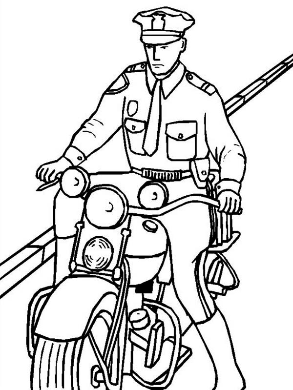 Police Officer Riding a Motorcycle Coloring Page