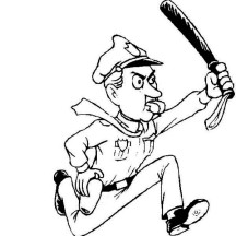 Police Officer Run After Criminal Coloring Page