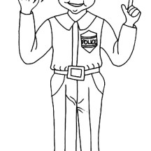 Police Officer Stand Up Straight Coloring Page