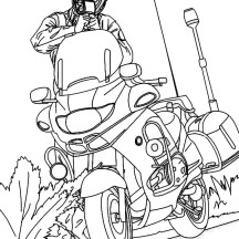Police Officer and His Motorcycle Coloring Page