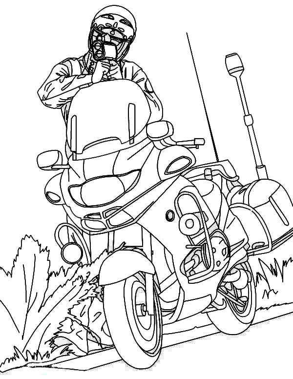 Police Officer and His Motorcycle Coloring Page - NetArt