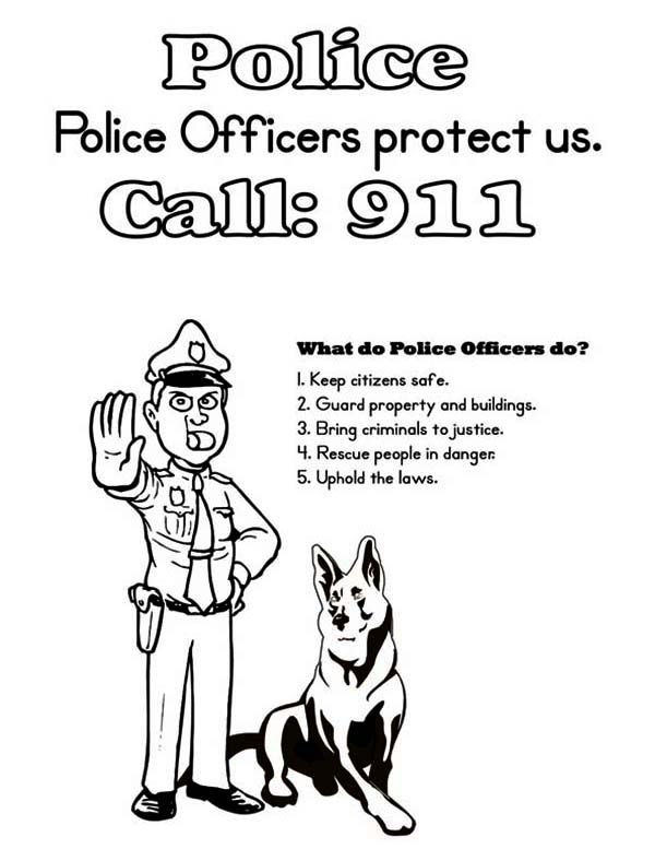 Police Officer and K9 Dog Coloring Page