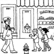 Police Officer is Friendly to Little Kid Coloring Page