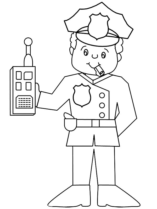 police officer with walkie talkie coloring page