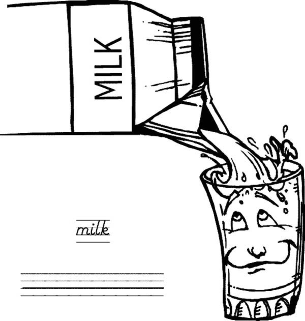 Pouring Milk to Glass from Milk Carton Coloring Page