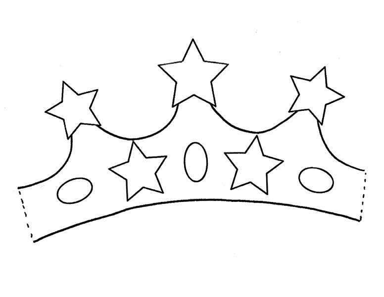 Princess Crown with Five Stars of Gold Coloring Page