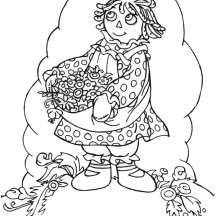Raggedy Ann Beautiful Flower in Raggedy Ann and Andy Coloring Page