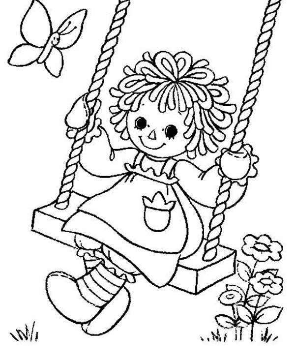 Raggedy Ann Playing Swing in Raggedy Ann and Andy Coloring Page