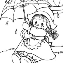 Raggedy Ann Put on Umbrella in Raggedy Ann and Andy Coloring Page