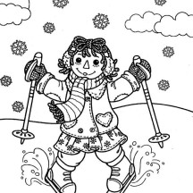 Raggedy Ann Skiing in Raggedy Ann and Andy Coloring Page