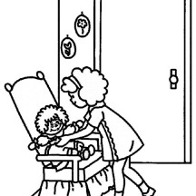 Raggedy Ann Taking Care of a Baby in Raggedy Ann and Andy Coloring Page