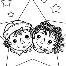 Raggedy Ann and Andy Coloring Page
