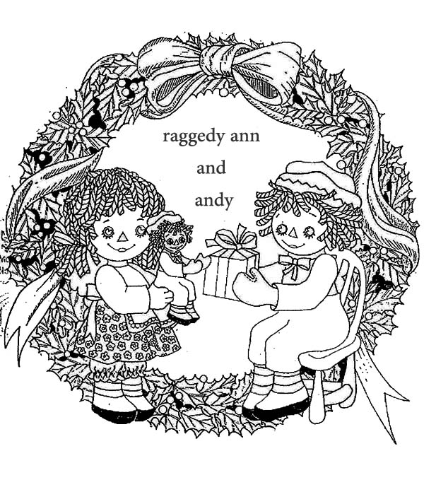 Raggedy Ann and Andy Exchanging Present Coloring Page