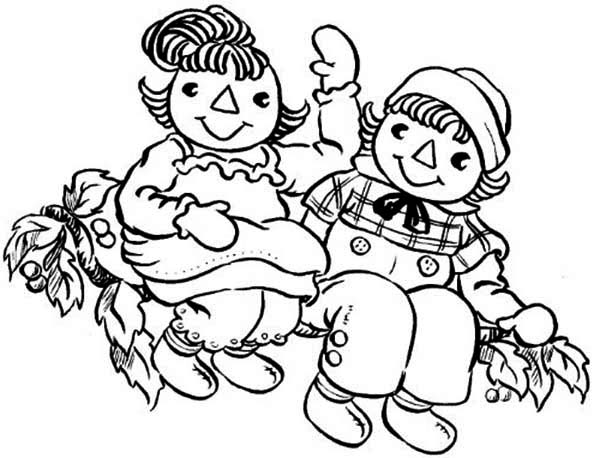 Raggedy Ann and Andy Greeting Us Coloring Page