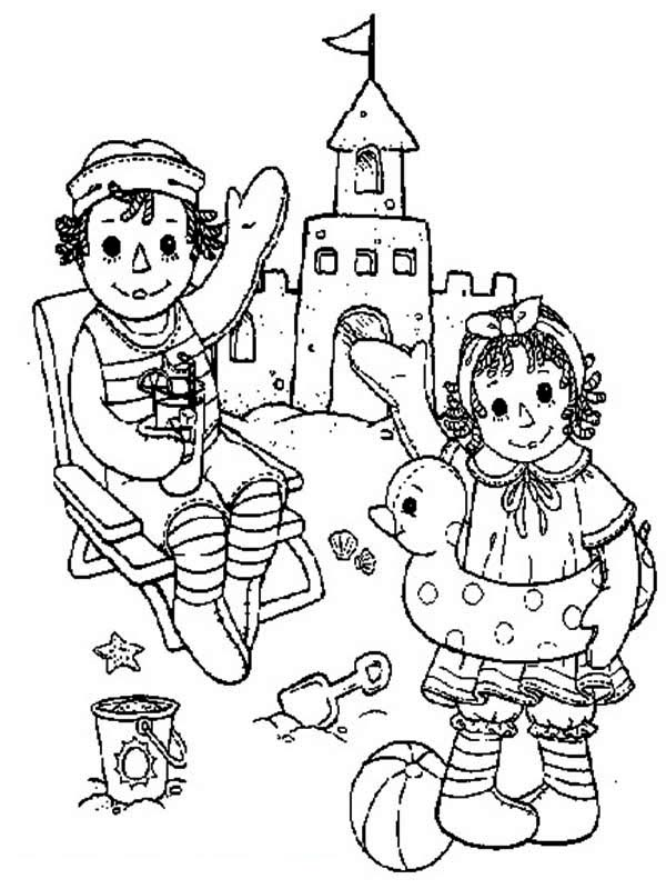 Raggedy Ann and Andy Making Sand Castle Coloring Page