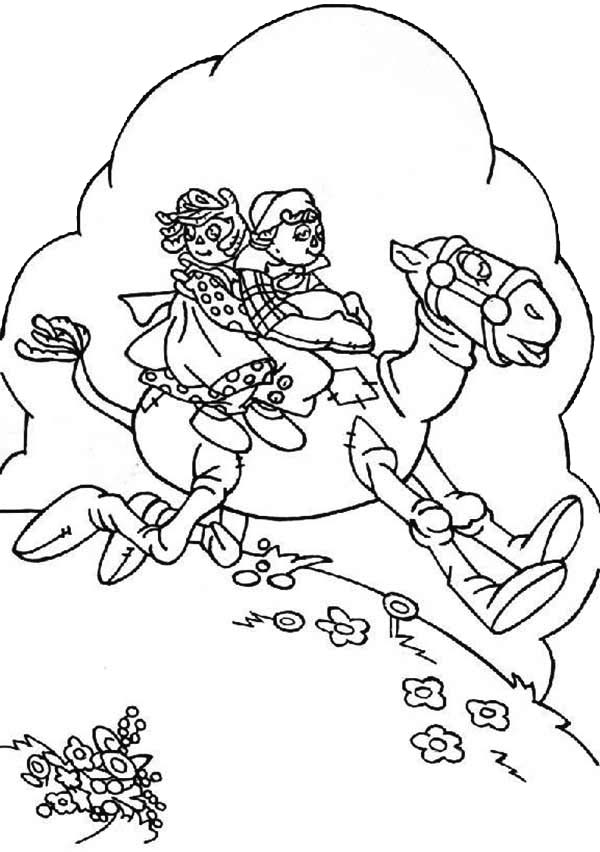 Raggedy Ann and Andy Riding Hobby Horse Coloring Page