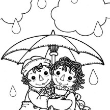 Raggedy Ann and Andy Under Umbrella in the Rain Coloring Page