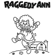 Raggedy Ann and Barn in Raggedy Ann and Andy Coloring Page