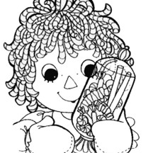 Raggedy Ann and Jar Full of Candy in Raggedy Ann and Andy Coloring Page
