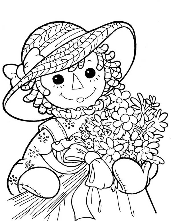 Raggedy Ann and a Bouquet of Flower in Raggedy Ann and Andy Coloring Page