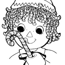 Raggedy Ann with Sweet Candy Cane in Raggedy Ann and Andy Coloring Page