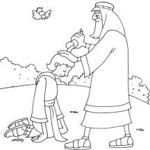 Samuel Anointing David in the Story of King Saul Coloring Page