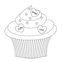 Say it with Cupcake Coloring Page
