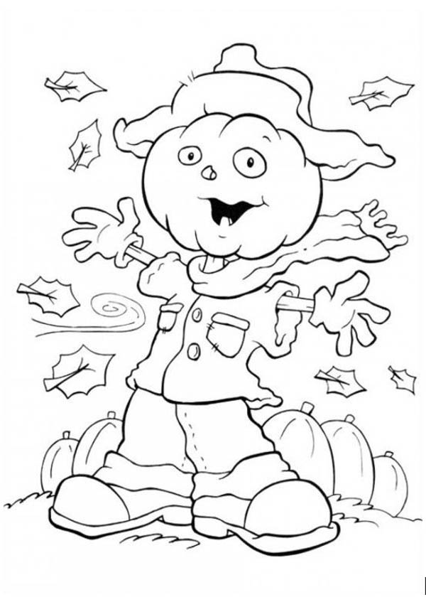 Scarecrow Ghost in Funschool Halloween Coloring Page