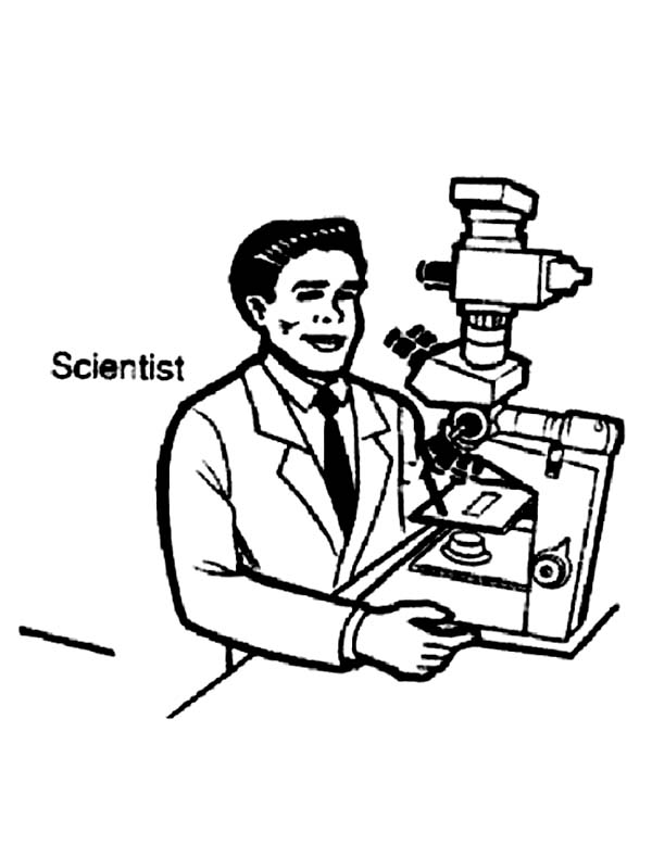 Scientist On Microscope In Community Helpers Coloring Page