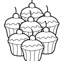 Seven Delicious Cupcake Coloring Page