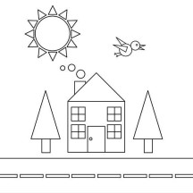 Shapes of House and Bird with Trees and the Sun Coloring Page