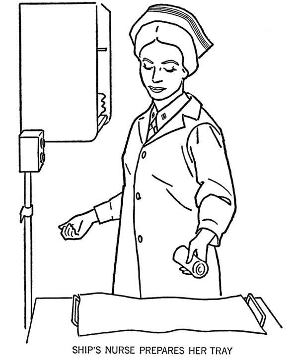 Ships Nurse Prepares Her Tray Coloring Page