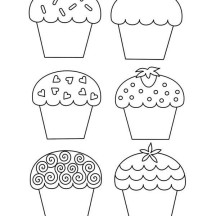Six Tasty Cupcake Coloring Page