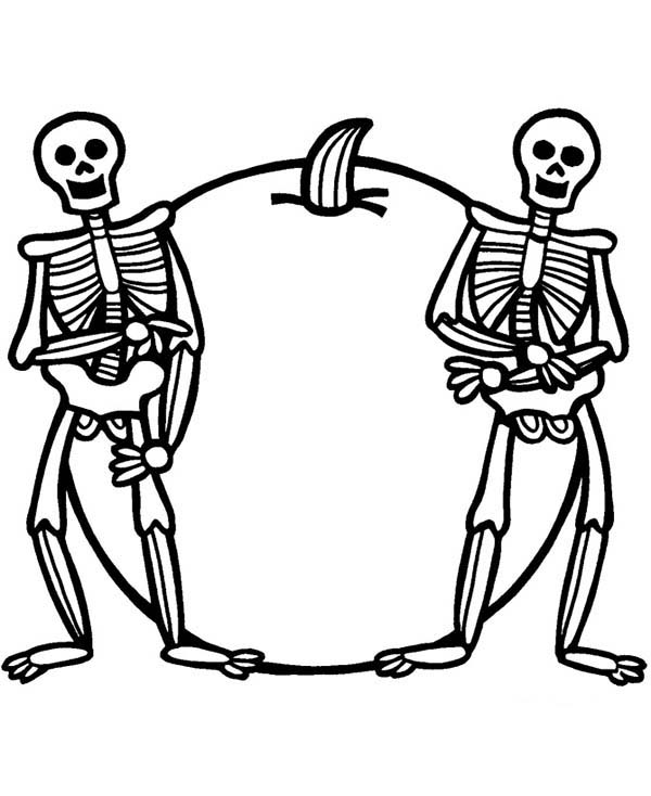 Skeleton and Poisonous Fruit Coloring Page