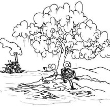 Skeleton and Snake Under the Tree Coloring Page