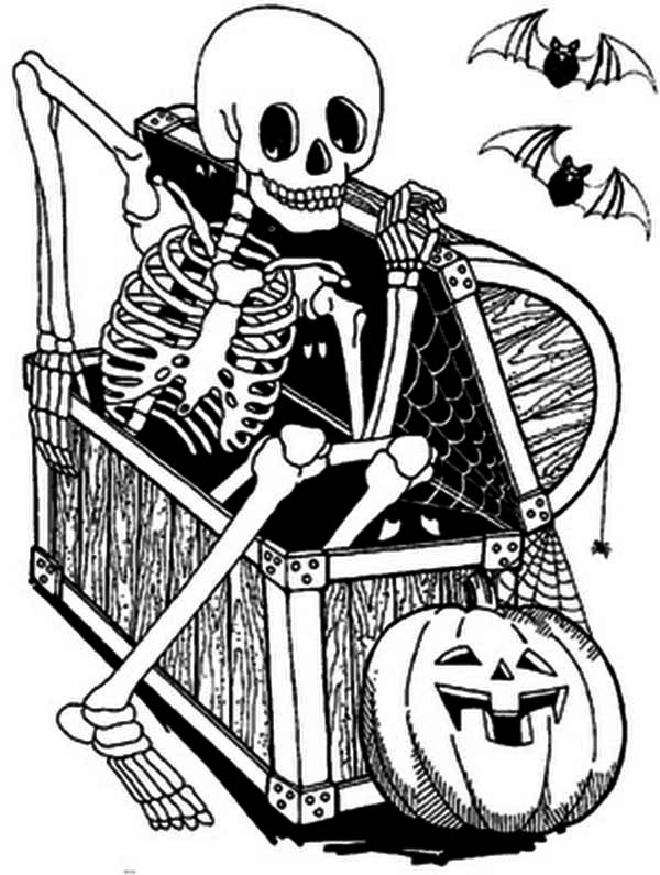 Skeleton from Wooden Box Coloring Page