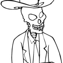 Skeleton with Cowboy Hat Coloring Page
