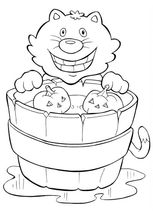 Smiling Cat and Pumpkins in Funschool Halloween Coloring Page