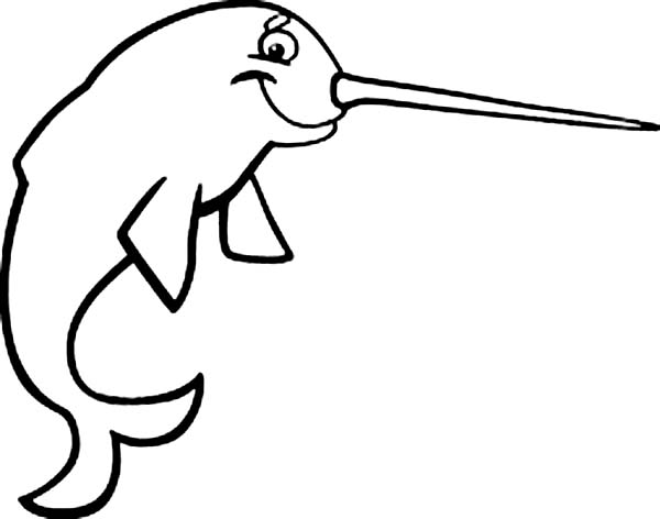 Smiling Narwhal Coloring Page