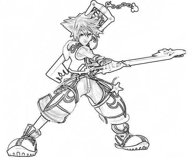 Sora Fighting Skills Coloring Page