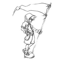 Sora Holding a Flag Coloring Page