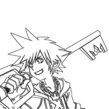 Sora and Awesome Keyblade Coloring Page