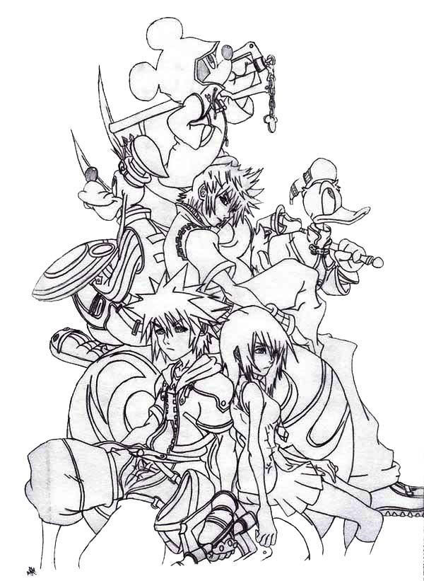 Sora and Friends at Kingdom Hearts 2 Coloring Page