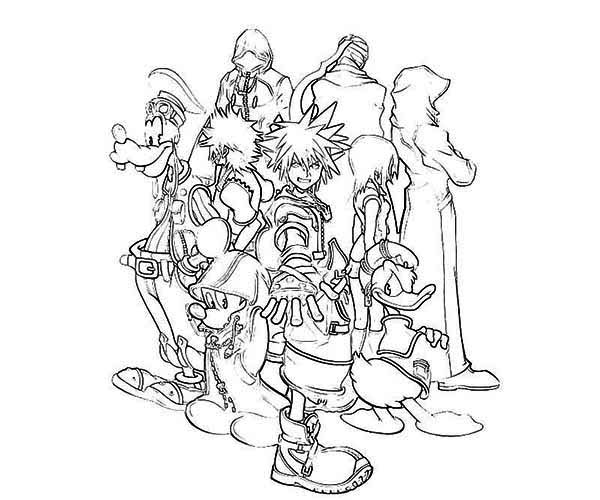 Sora and His Disney Friends Coloring Page