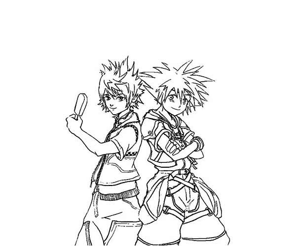 Sora and Riku from Kingdom Hearts Coloring Page