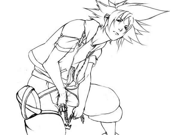 Sora from Destiny Islands Coloring Page