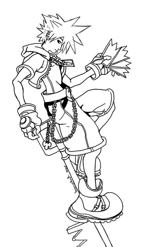 Sora from Kingdom Hearts Coloring Page