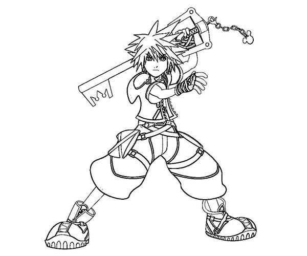 Sora Is Keyblade Wielder Coloring Page Netart