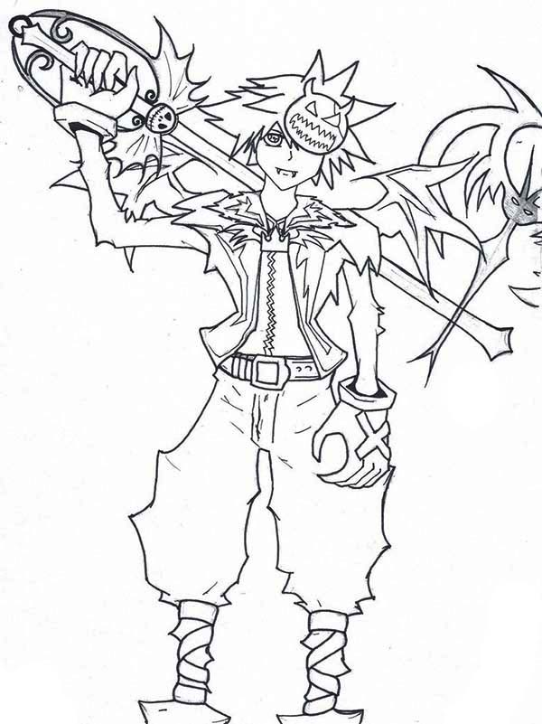 Sora say I Dont Need a Weapon My Friends are My Power Coloring Page