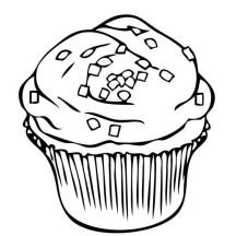 Sprinkles Topping Cupcake Coloring Page